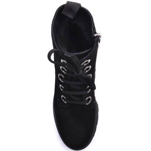 Ботинки Prego зимние на меху черного цвета из натуральной замши с рельефной подошвой, фото