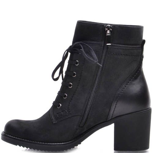 Ботинки Prego зимние из нубука на шнуровке с кожаной вставкой на пятке, фото