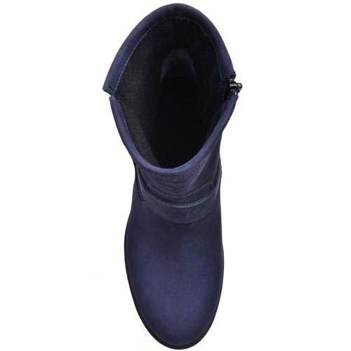 Ботинки Prego синего цвета из нубука с декоративной пряжкой, фото