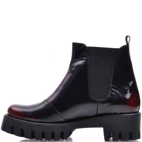 Ботинки-дерби Prego черные с красным , фото