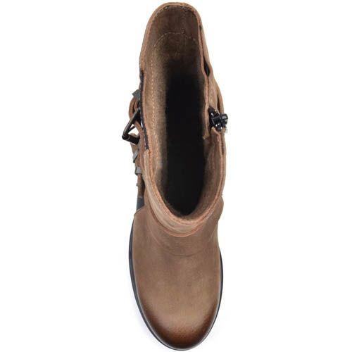 Ботинки Prego из нубука коричневого цвета с тремя пряжками, фото