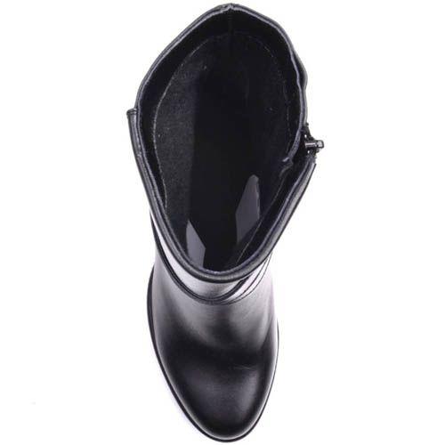 Полусапожки Prego черного цвета из гладкой кожи декорированые пряжкой, фото