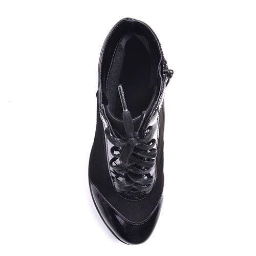 Ботильоны Prego из натуральной замши черного цвета с лаковой вставкой на носочке и пяточке, фото