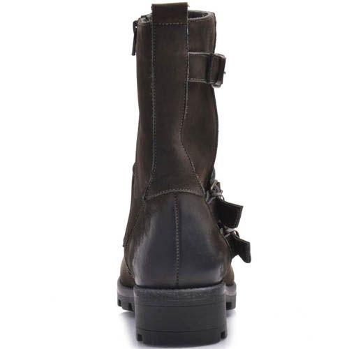 Ботинки Prego зимние из коричневого нубука с декором из пряжек, фото