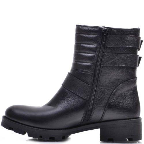 Ботинки Prego зимние черного цвета с тремя декоративными ремешками, фото