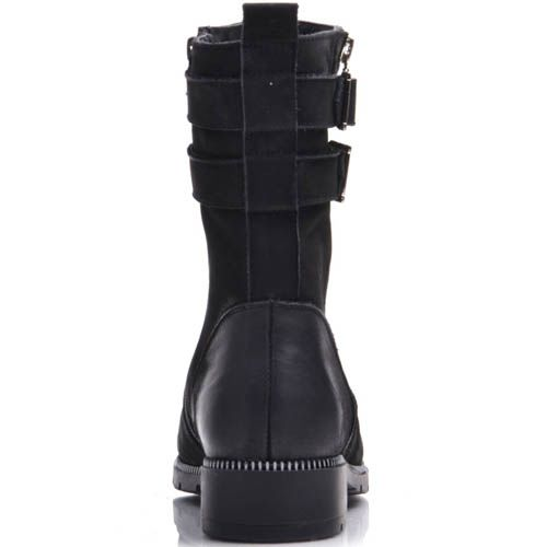 Ботинки Prego зимние черные из нубука на низком ходу с молнией и пряжками, фото