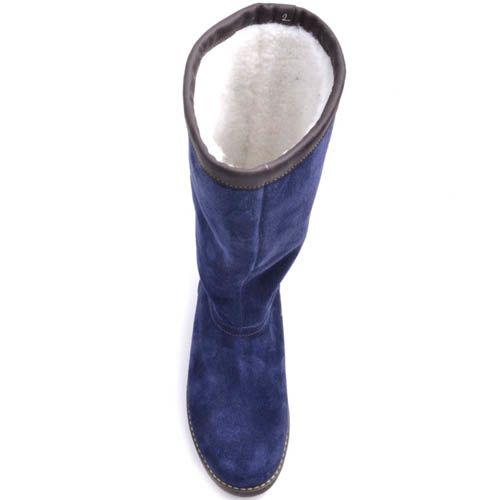 Сапоги Prego зимние яркого синего цвета замшевые и с плоской подошвой, фото