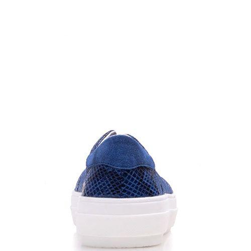 Кеды Prego из натуральной замши синего цвета с имитацией кожи рептилии, фото