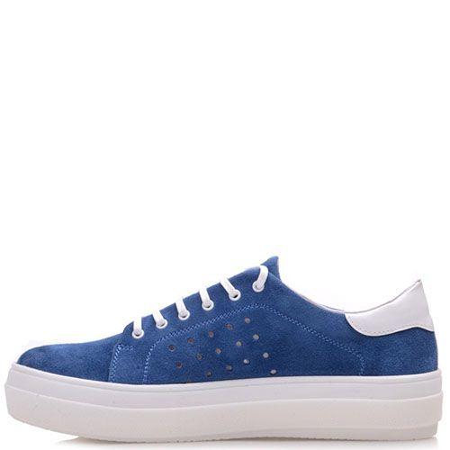 Замшевые кеды Prego синего цвета на белой подошве с перфорацией, фото