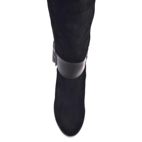 Сапоги Prego замшевые с кожаным широким ремнем на толстом каблуке и танкетка, фото
