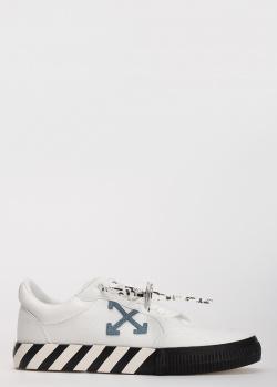Белые кеды Off-White с полосками на подошве, фото
