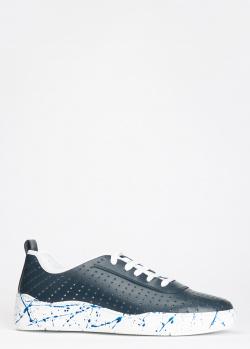 Синее кеды из кожи Luca Guerrini на шнуровке, фото