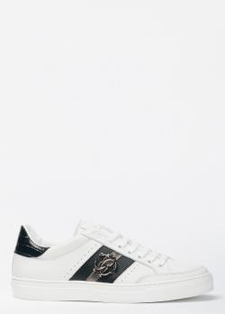 Белые кеды Roberto Cavalli с черной полосой, фото
