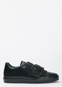 Черные кеды Roberto Cavalli с тиснением под рептилию, фото