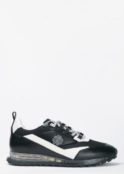 Белые кроссовки Roberto Cavalli с текстильными вставками, фото