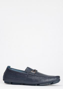 Синие мокасины Luca Guerrini из кожи с перфорацией, фото