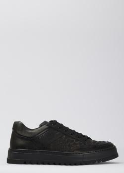 Черные кеды Giampiero Nicola с тиснением кроко, фото