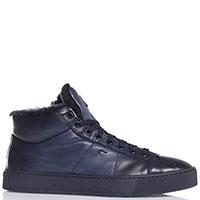 Мужские ботинки Santoni с боковой молнией синего цвета, фото