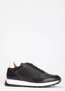 Кроссовки из кожи Dino Bigioni с мелкой перфорацией, фото