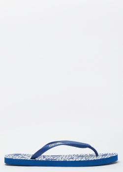 Мужские синие шлепанцы Emporio Armani с белыми логотипами, фото