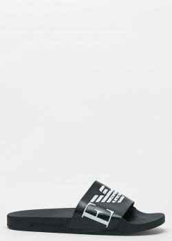 Черные шлепанцы Emporio Armani с белым лого, фото