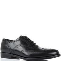 Кожаные туфли-броги черного цвета Lanciotti de Verzi на шнуровке, фото