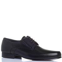 Кожаные туфли Giovanni Conti черного цвета с круглым носком, фото