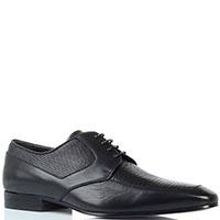 Кожаные туфли черного цвета Borsalino с тиснеными под змею деталями, фото