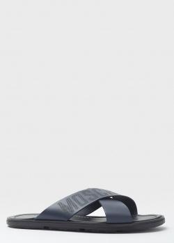 Синие шлепанцы Moschino с фирменной надписью, фото