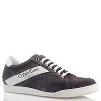 Замшевые кеды Calvin Klein Collection серого цвета, фото