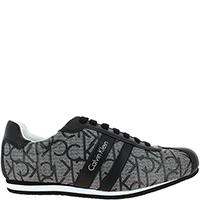 Серые кроссовки Calvin Klein из текстиля с кожаными вставками, фото