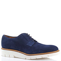 Замшевые туфли Camerlengo из синей кожи с декоративной перфорацией, фото