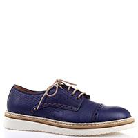 Синие туфли на толстой подошве Camerlengo из крупнозернистой кожи, фото