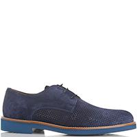 Синие туфли Camerlengo из замши с перфорацией, фото