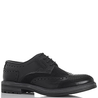 Туфли Gianni Famoso черного цвета из кожи с замшевой вставкой, фото