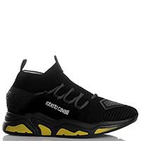 Черные кроссовки Roberto Cavalli с желтыми вставками на подошве, фото