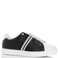 Черно-белые кеды Trussardi Jeans без шнуровки, фото