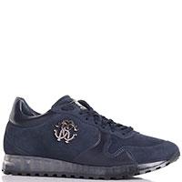 Замшевые кроссовки Roberto Cavalli синего цвета, фото