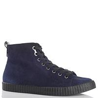Замшевые высокие кеды Calvin Klein Jeans синего цвета, фото