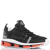 Черные кроссовки Calvin Klein на оранжевой подошве, фото