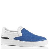 Слипоны Emporio Armani синего цвета на толстой подошве, фото