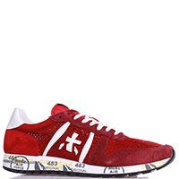 Кроссовки Premiata красные из кожи и текстиля, фото