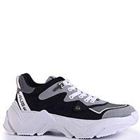 Черные кроссовки Cesare Paciotti с белыми вставками, фото