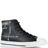 Высокие кожаные кеды черного цвета Moschino на шнуровке, фото