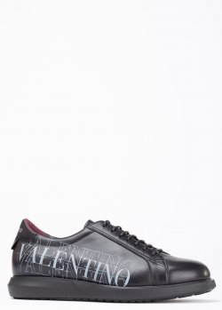 Кеды из гладкой кожи Valentino с брендовой надписью, фото