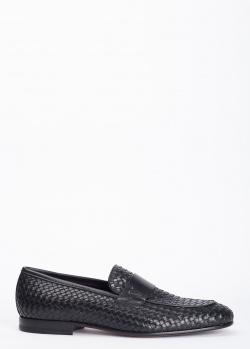 Лоферы черного цвета Valentino из кожи с плетением, фото