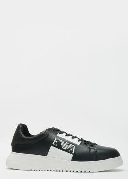 Черные кроссовки Emporio Armani с белым логотипом, фото