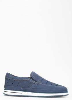 Мужские туфли Giampiero Nicola из синего нубука, фото