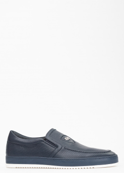 Синие туфли Giampiero Nicola с мелкой перфорацией, фото