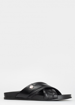 Черные сланцы Giampiero Nicola из кожи с тиснением, фото